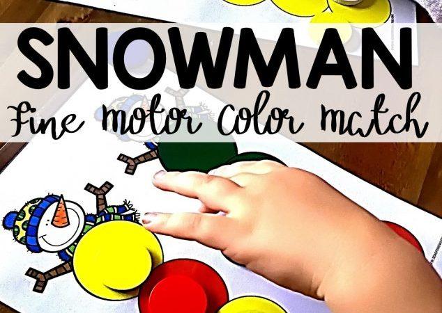 Free Fine Motor Color Match Snowman
