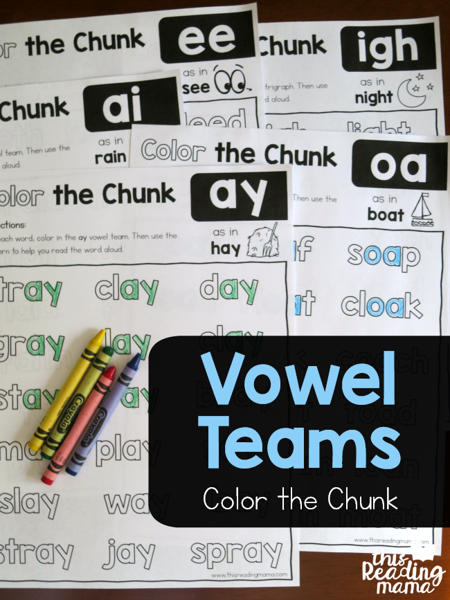 Do your budding readers have trouble with vowel teams? I know mine do! These Color the Chunk Printables are brilliant and perfect for little ones working on the long vowel team chunks! :: www.thriftyhomeschoolers.com
