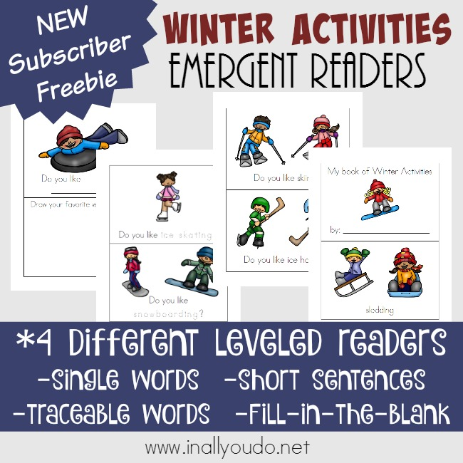 These Free Winter Activities Emergent Readers have 4 different reading levels, which makes them perfect for PreK-2nd grade. They would fit with any winter unit study too! :: www.thriftyhomeschoolers.com