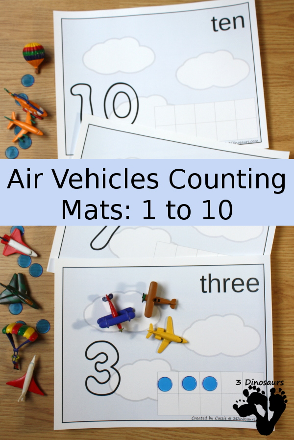 These Flying Counting Mats are perfect for a transportation unit, little ones who love airplanes or just fun counting practice. :: www.thriftyhomeschoolers.com