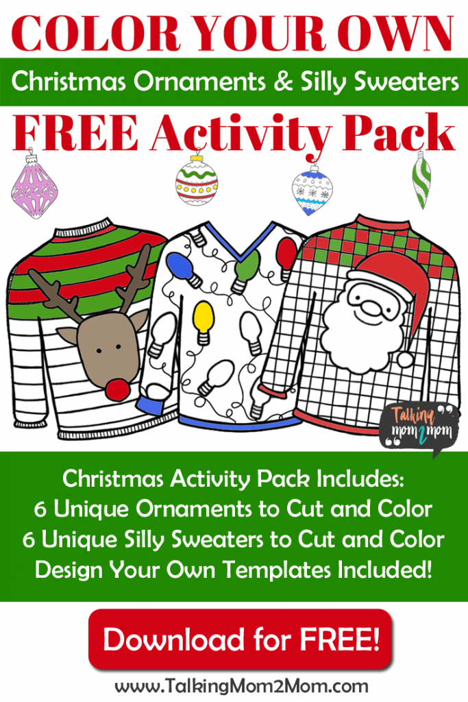 Oh my goodness!! How great are these?! With the growing fascination of the Ugly Christmas Sweater parties, these free Silly Sweater & Christmas Ornaments are perfect for the holiday season! :: www.thriftyhomeschoolers.com