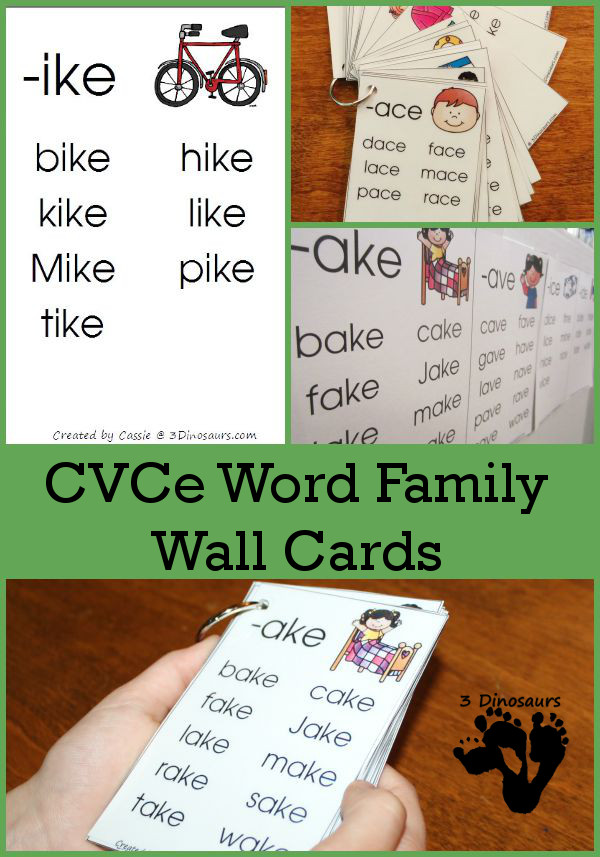 If you're working on CVCe words with your budding reader, don't miss picking up these Word Family Wall Cards! :: www.thriftyhomeschoolers.com