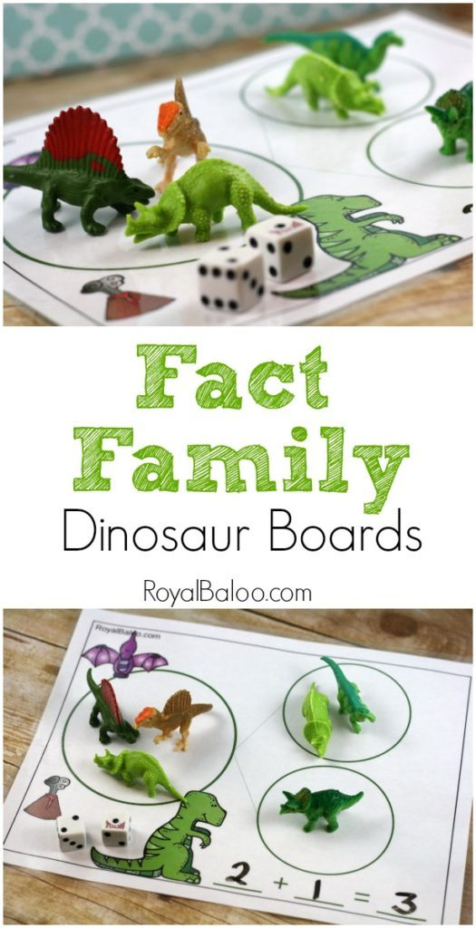 Fact families are a simple and great way to help kids learn their math facts. Whether you're working through a dinosaur unit or just have a dinosaur fan, these free fact family mats are perfect! :: www.thriftyhomeschoolers.com