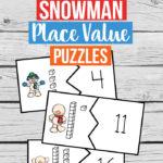 Free Snowman Place Value Puzzles