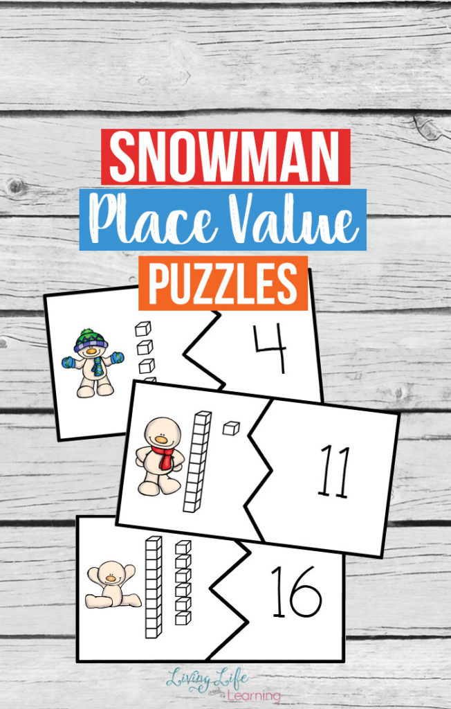 Working on place value with your kids this winter? These Snowman Place Value Puzzles are perfect to add to any winter unit, snowman fun or just for review. :: www.thriftyhomeschoolers.com