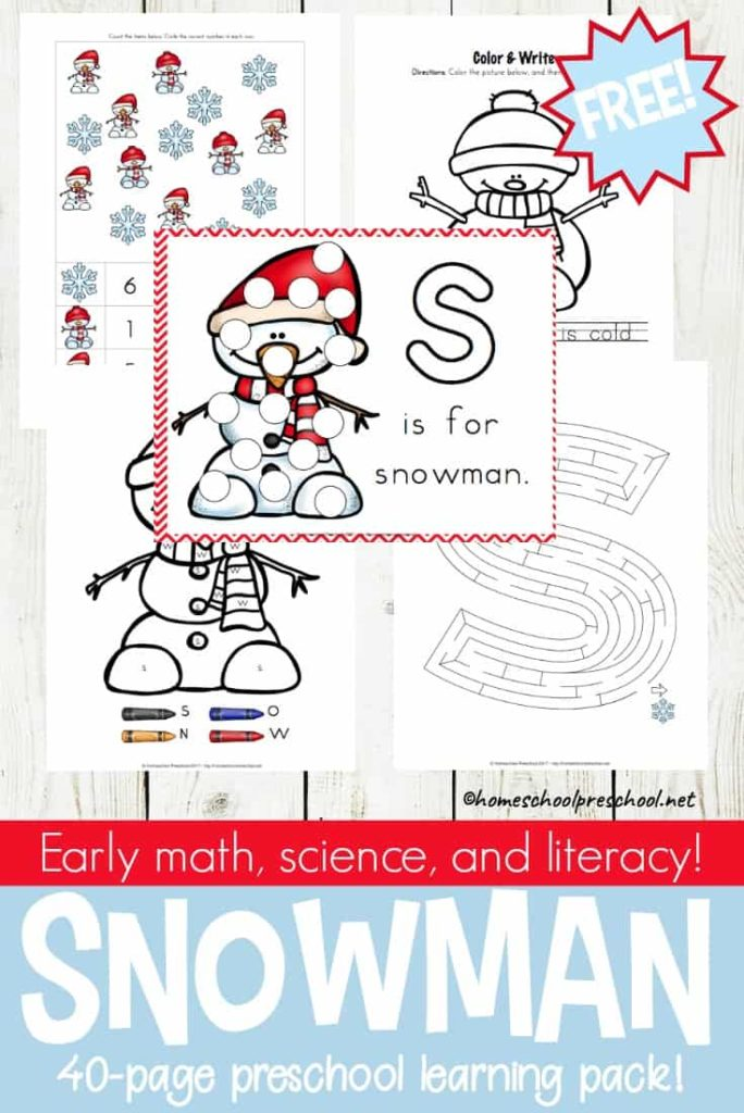 Little kids love snowmen and they make learning more fun too! This free Snowman Preschool Learning Pack includes early math, science and literacy! :: www.thriftyhomeschoolers.com