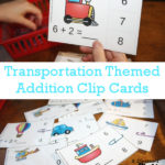 Free Transportation Themed Addition Clip Cards