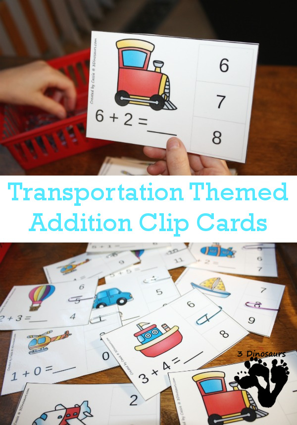 Little kids love to play with trucks, cars and boats. Make their math learning fun with these super cute Transportation themed Addition Clip Cards. These are perfect for little ones to work on their fine motor skills too! :: www.thriftyhomeschoolers.com