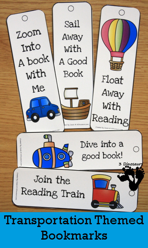Do you have a budding reader? These adorable transportation bookmarks are perfect for any avid reader or child who loves transportation! The sayings are cute too! :: www.thriftyhomeschoolers.com