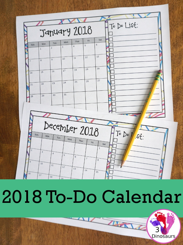 I love calendars and planning. However, sometimes you just need a good organization calendar that helps you see at a glance what needs to be done that month! Now you can with these printable 2018 To-Do Calendars. :: www.thriftyhomeschoolers.com