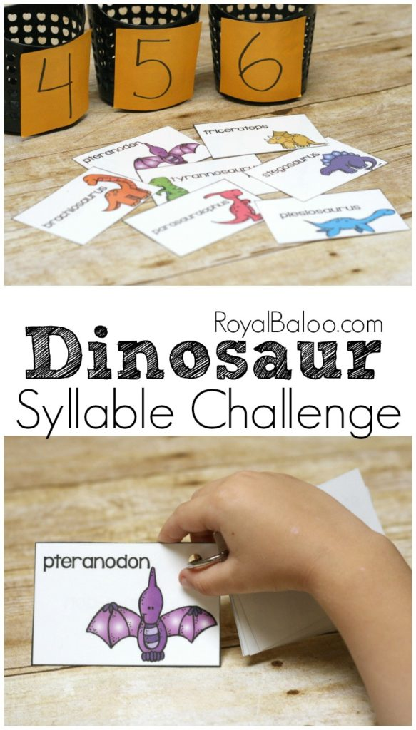 My children have the hardest time hearing and learning to count syllables. However, this Dinosaur Syllable Challenge is a fun way to help them hear and count syllables, as well as review dinosaur names. :: www.thriftyhomeschoolers.com