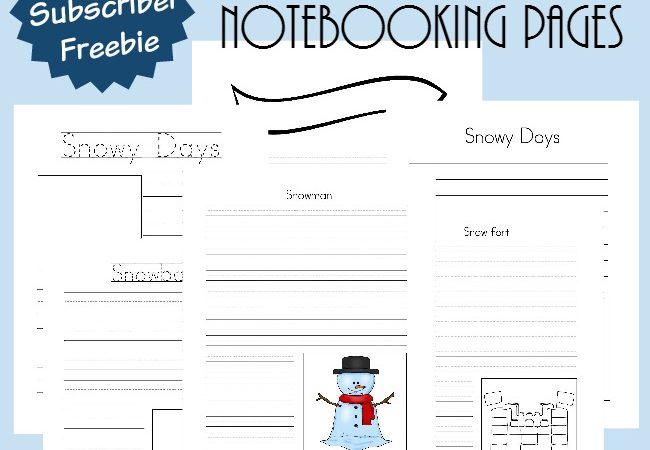 Free Snowy Days Notebooking Pages