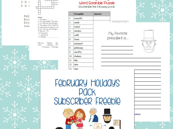 February Holidays Printable Pack Freebie