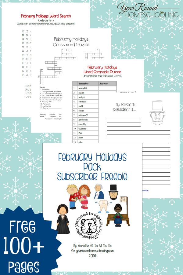 With so many different holidays for the month of February, why not grab a pack to cover them all? This February Holidays Printable Pack covers Valentine's Day, Groundhog Day, Dental Health Month, President's Day and more! :: www.thriftyhomeschoolers.com