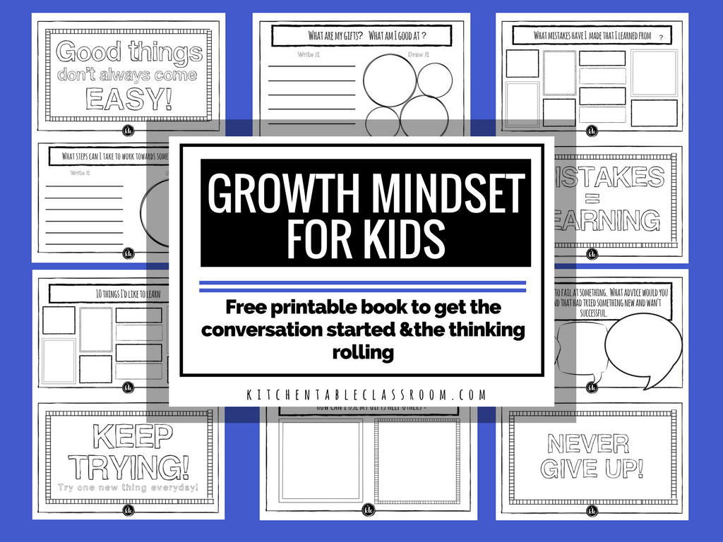 "Have you ever heard the words ""growth mindset""? It's a newer one for me, but I like the idea of helping my kids keep their minds active and growing. These free printable worksheets are a great place to start! :: www.thriftyhomeschoolers.com"