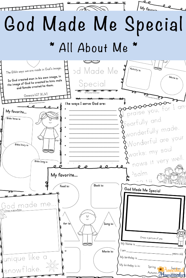 God made them unique and special and He doesn't make mistakes! Whether your child is struggling with this or you just want to remind them, this printable pack is perfect. :: www.thriftyhomeschoolers.com