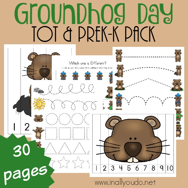 Little ones will enjoy working through this Groundhog Day themed Tot & PreK-K Pack on February 2nd. Have these pages printed and ready to go after you watch to see if the shadow is seen or not! :: www.thriftyhomeschoolers.com