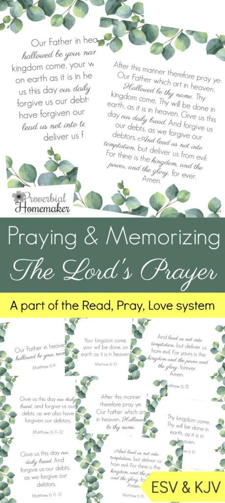 Help your kids learn and memorize The Lord's Prayer with these printable scripture pages. These coincide with the Read. Pray. Love. series as well. :: www.thriftyhomeschoolers.com