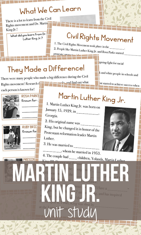 Whether you celebrate the day, take it off or something else, Martin Luther King Jr. is a part of United States history. This year your kids can learn about him and what he did in this FREE Unit Study. :: www.thriftyhomeschoolers.com