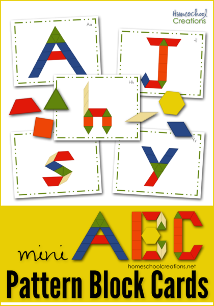 If you have some around the house, these mini ABC pattern block cards is a fun way for little ones to work on their alphabet! :: www.thriftyhomeschoolers.com