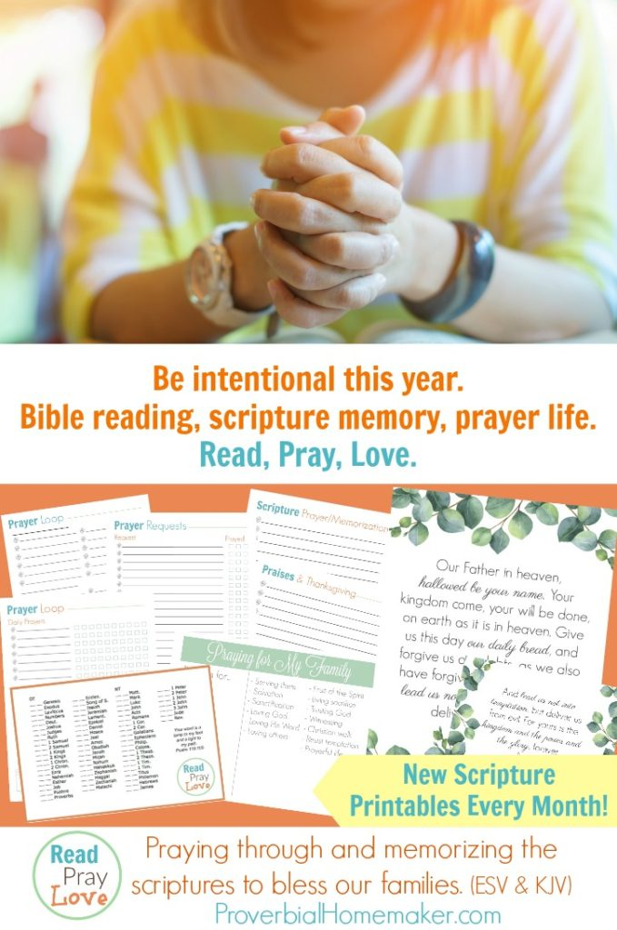 Start the new year off right, being intentional with your family and faith. Grab the January 2018 Read. Pray. Love. Scripture printables. :: www.thriftyhomeschoolers.com