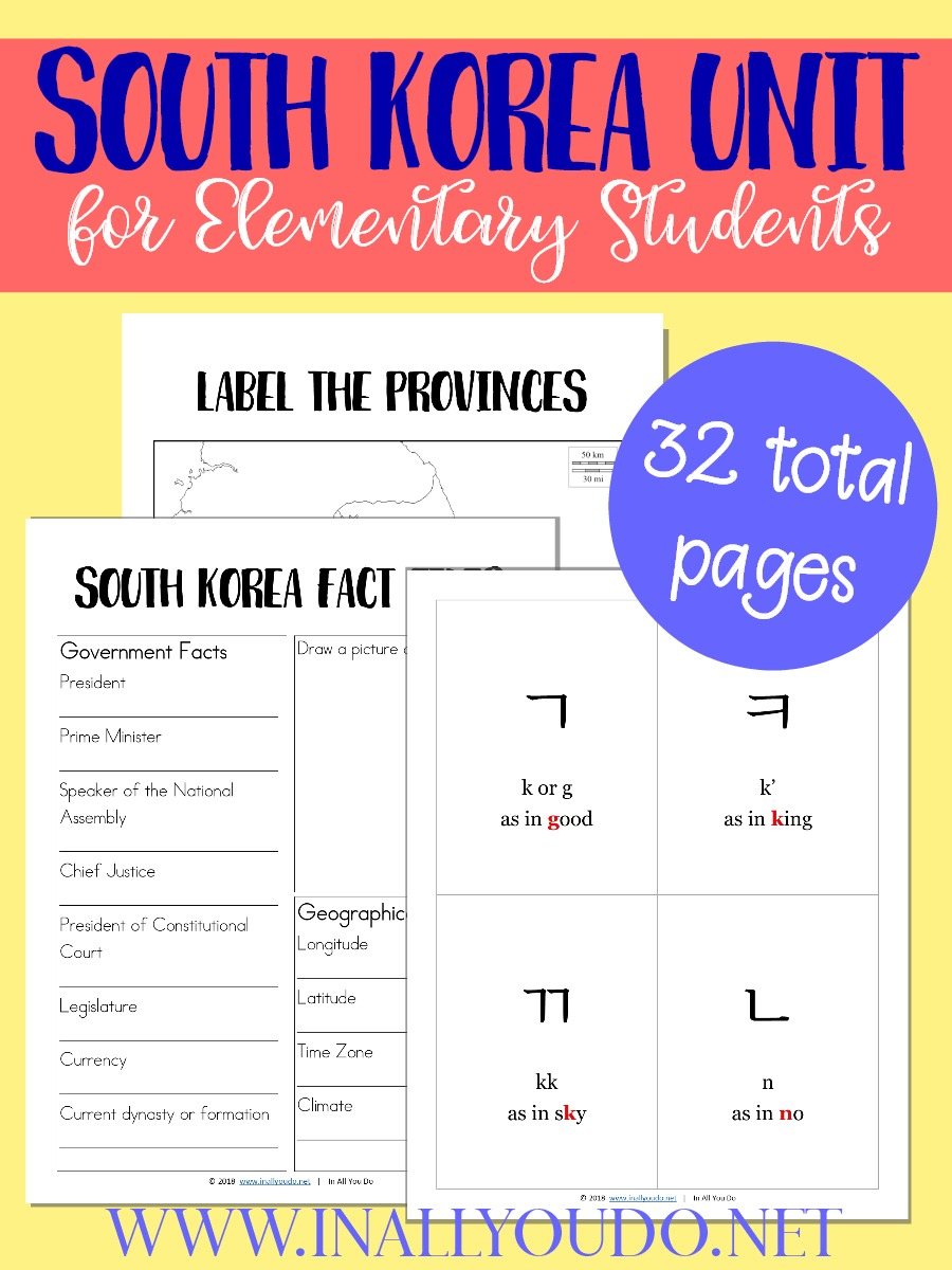 The 2018 Winter Olympics are in South Korea, which means it is the perfect time for a unit study! Don't miss this South Korea Unit that includes are Korean alphabet flashcards, maps for geography, fact files and notebooking pages. :: www.thriftyhomeschoolers.com