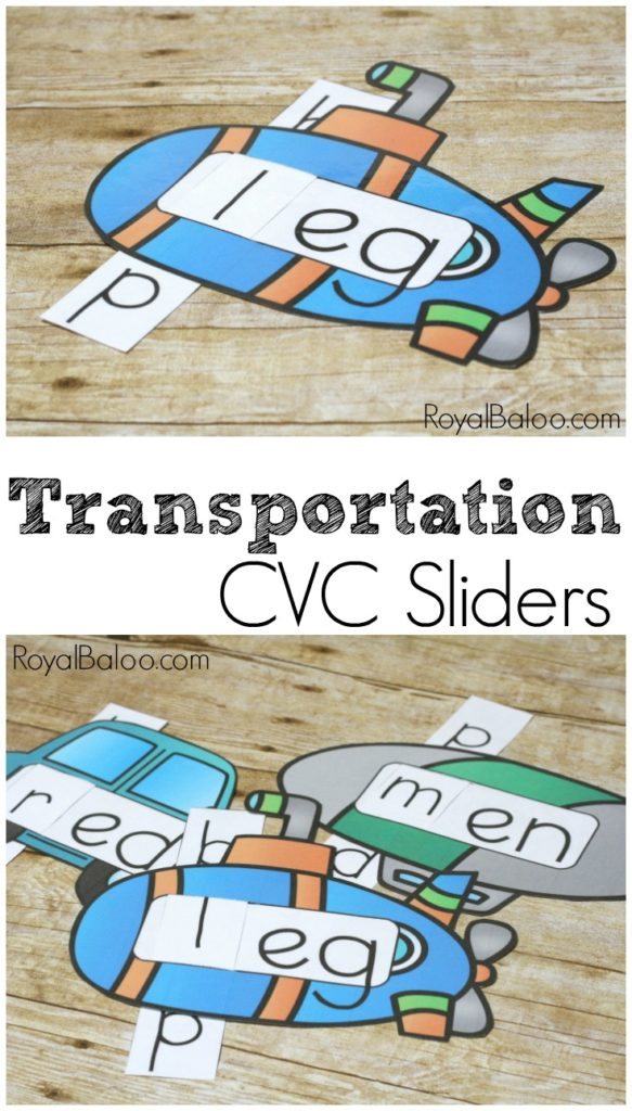 I used to love those sliders we had as a kid. There was something so exciting about seeing the next thing. Help kids work on their CVC words with these adorable Transporation themed Sliders! :: www.thriftyhomeschoolers.com
