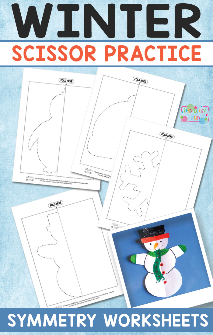 Learning to cut and use scissors properly is vital to developing fine motor skills. These winter themed scissor symmetry practice pages are perfect for this time of year! :: www.thriftyhomeschoolers.com