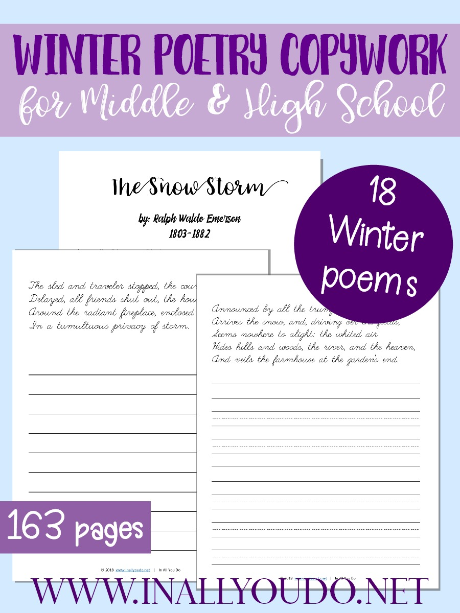 Introduce poetry into your homeschool today with this Winter Poetry Copywork pack. It includes 18 different winter-themed poems and 160+ pages of coypwork. Right now this pack is just $.99 thru Jan 10th! :: www.thriftyhomeschoolers.com