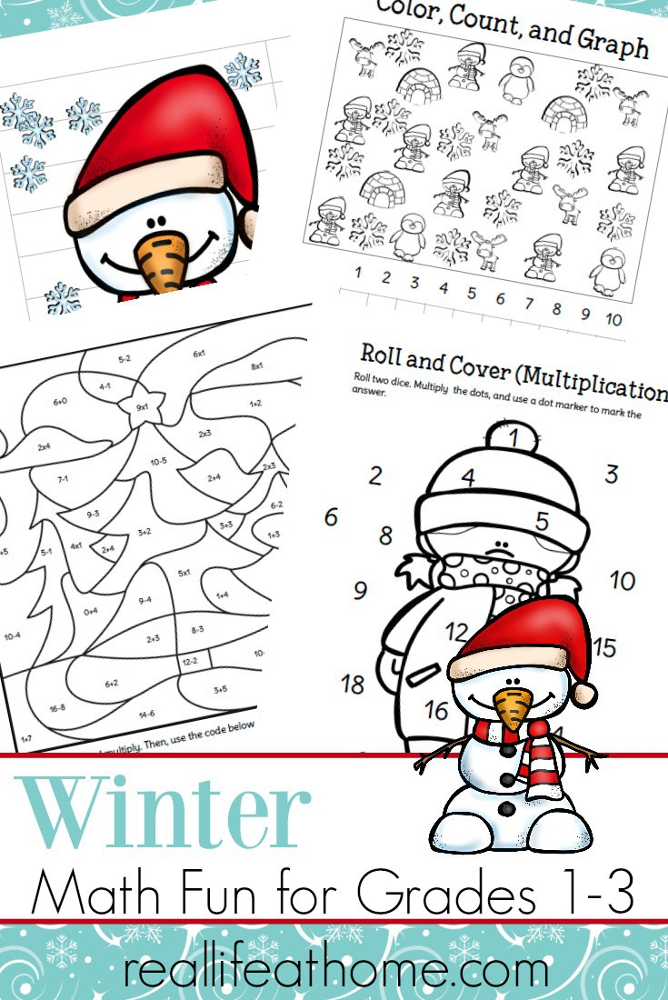 Add some fun winter math practice to your homeschool with these printables! This pack includes multiplication roll and cover, graphing practice, puzzles, color by number and more! :: www.thriftyhomeschoolers.com