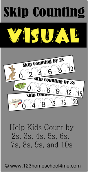 If your little one struggles with skip counting like mine, you'll do anything to help them master it. These printable visuals are a fun way to help kids learn and master skip counting! :: www.thriftyhomeschoolers.com
