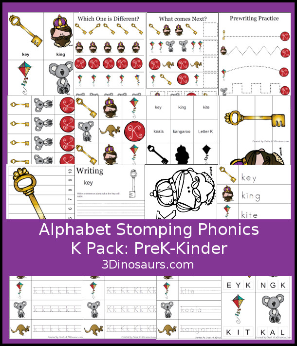 My youngest loved learning the letter K. I don't know if was because we got to talk about Kings or what. If you're working on the Letter K, this printable Phonics Pack is a great addition! :: www.thriftyhomeschoolers.com
