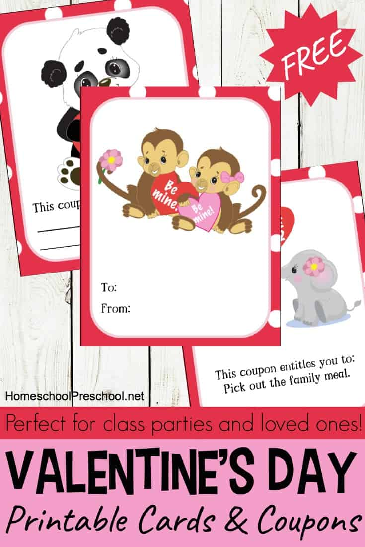 These printable cards arefor your preschoolers! Won't they love getting these adorable cards from you? These include cards and coupons your little ones will love! :: www.thriftyhomeschoolers.com