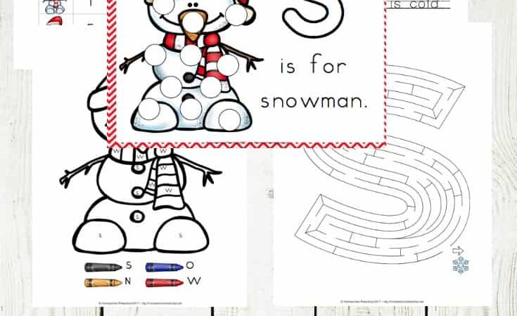 Free Snowman Preschool Learning Pack