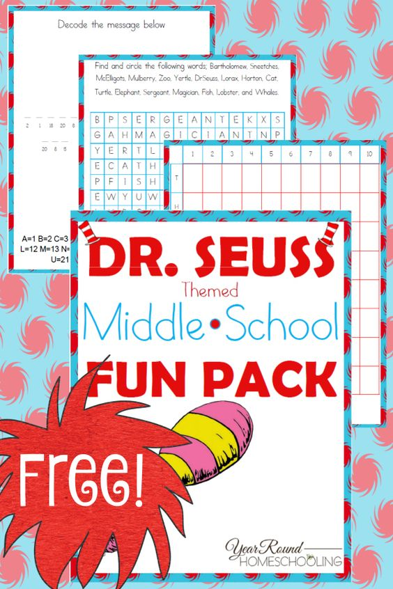 Even middle schoolers can join in the fun with Dr. Seuss and Read Across America Day on March 2nd! This fun pack includes decoding messages, word searches and a battleship game they're sure to enjoy! :: www.thriftyhomeschoolers.com