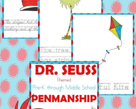 Seuss Inspired Penmenship Printables (PreK-Middle School)