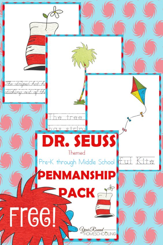 If you're like me, homeschooling a wide age-range isn't always easy, but finding ways to bring them together is wonderful. Why not unite them around Dr. Seuss with this fun Penmanship Printable Pack! :: www.thriftyhomeschoolers.com