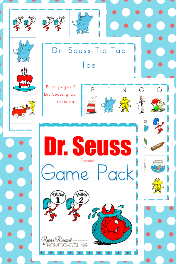 Do you plan to celebrate Read Across America Week, Dr. Seuss' birthday or your kids just love his books? This fun Dr. Seuss inspired Game Pack is one you'll want to add to your studies! :: www.thriftyhomeschoolers.com