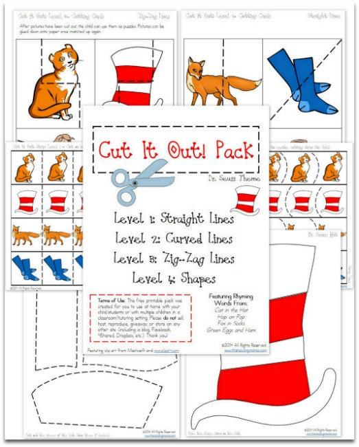 graphic about Read Across America Printable known as Totally free Seuss Impressed Chopping Coach Printables - Thrifty