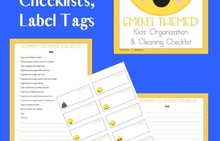 Free Emoji Themed Kids' Organization & Cleaning Checklists
