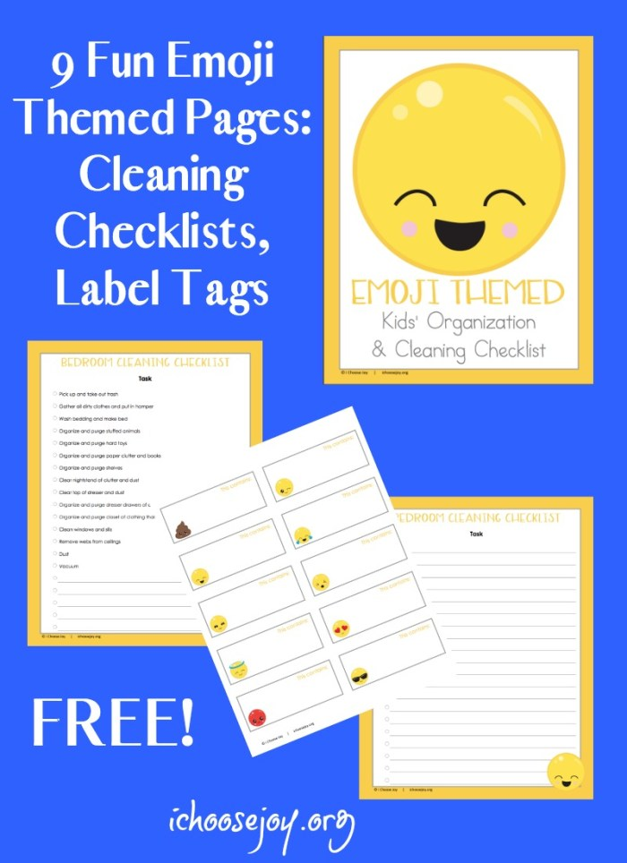 Getting kids to do their chores isn't always an easy task. In fact, some days it is just downright hard. Maybe these fun and adorable Emoji Themed Kids' Organization & Cleaning Checklists will help! :: www.thriftyhomeschoolers.com