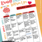 Free February Brainy Days Warm-Ups
