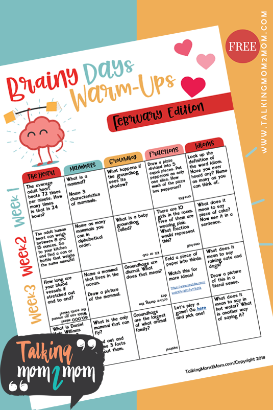 Even though we're nearing the end of the first week in February, you can still make great use of these fun Brainy Days Warm-Ups. These fun activities are a great way to help get their little minds warmed up and ready for homeschooling! :: www.thriftyhomeschoolers.com