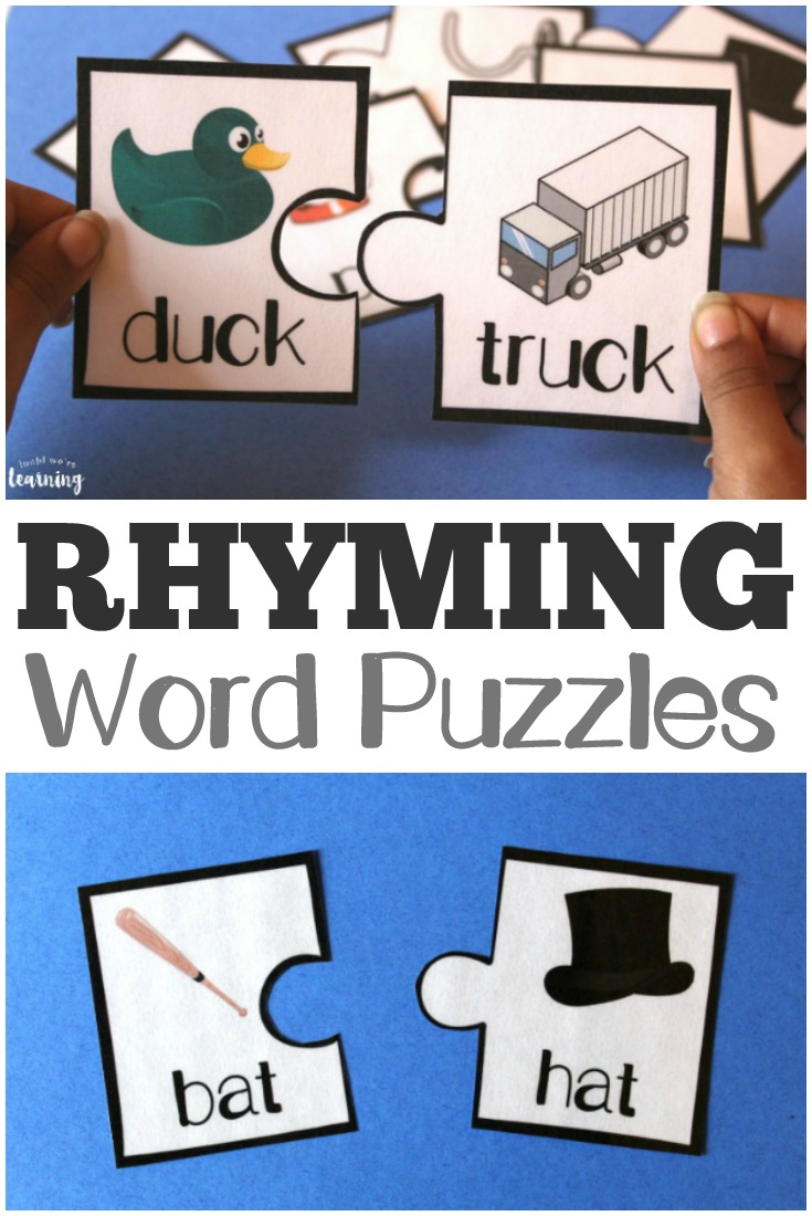 Do rhyming words stump your kids? Make them fun with these Rhyming Word Puzzles. These are a great way to introduce and/or review rhyming words with young readers! :: www.thriftyhomeschoolers.com