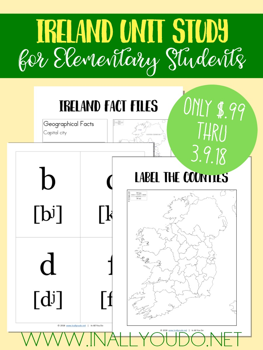 This Ireland Unit Study is a perfect way to bring some geography and fun to your St. Patrick's Day lessons! This unit includes Irish/Gaelic alphabet flashcards, maps to learn counties, cities & waterways, geography fact files and notebooking pages. And it's ON SALE for just $.99 thru 3.9.18!! :: www.thriftyhomeschoolers.com