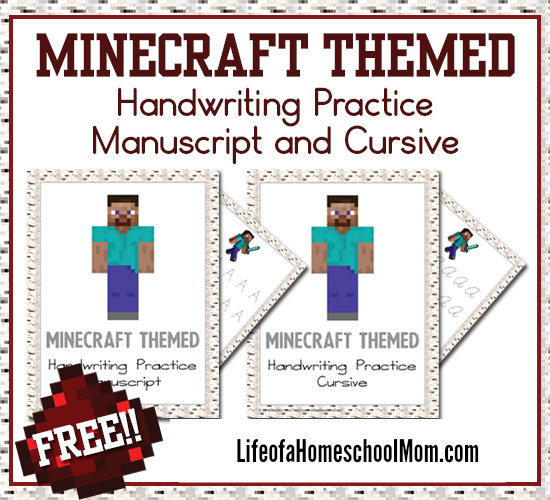 If you have a Minecraft fan in your house, don't miss this! Bring a little fun to their handwriting practice with these Minecraft Handwriting Packs. Available in manuscript and cursive! :: www.thriftyhomeschoolers.com