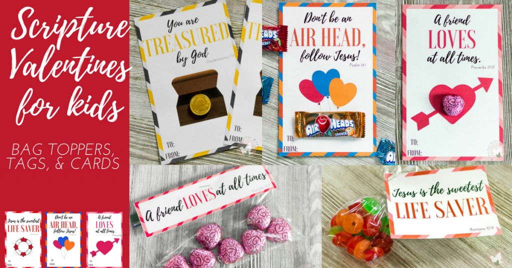 We love giving our children meaningful gifts, even at Valentine's Day. This year, shower your kids, church class or anyone you care about with these printable Scripture Valentine's for Kids. Simply print and assemble! :: www.thriftyhomeschoolers.com