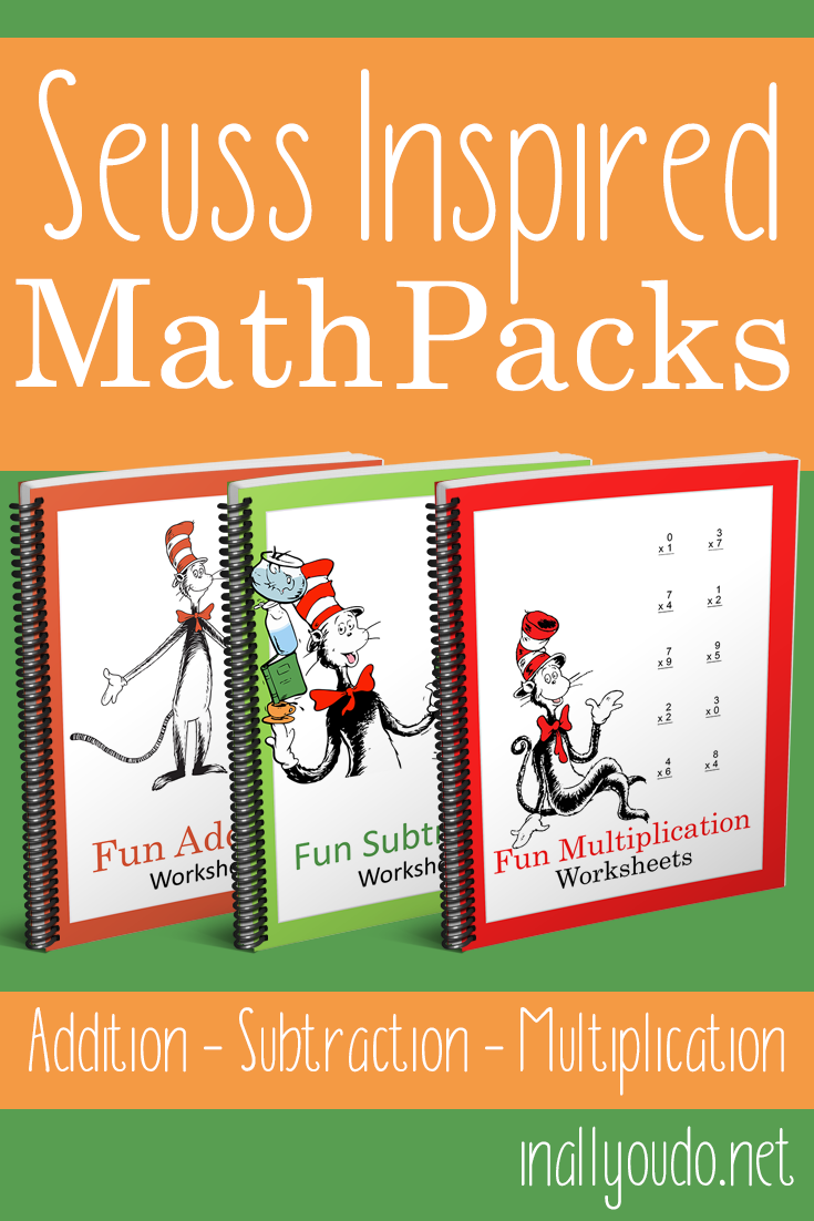 Math practice is always more fun when given a different theme. Check out these Seuss Inspired Math Packs. They include 15 practice pages each for Addition, Subtraction and Multiplication.Right now you can snag all 3 packs for just $1.99 (reg. $4.99) thru March 2nd! :: www.thriftyhomeschoolers.com