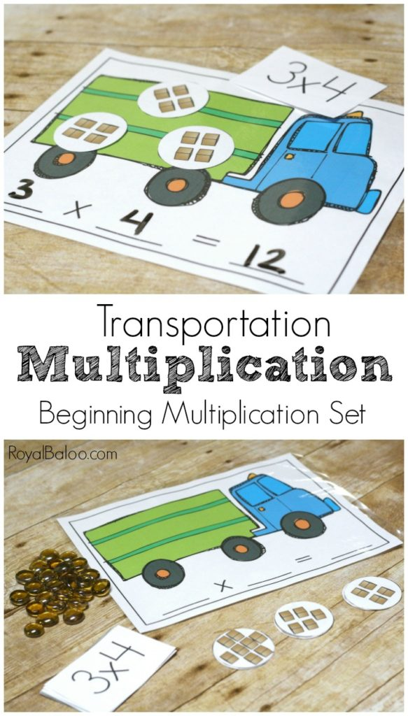 Help kids work on their beginning multiplication facts with these FREE printable and interchangeable Transportation Themed Multiplication Mats! :: www.thriftyhomeschoolers.com