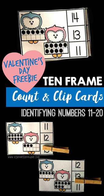 Ten Frames are a fun way to help kids grasp the concept of counting and adding tens. These Valentine's Day themed Ten Frame Clip Cards are not only adorable, but would be a fun addition to your festivities! :: www.thriftyhomeschoolers.com